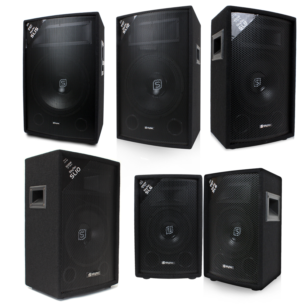 6 8 10 12 15 skytec pa series dj stereo passive dj disco speaker 150w 800w ebay. Black Bedroom Furniture Sets. Home Design Ideas