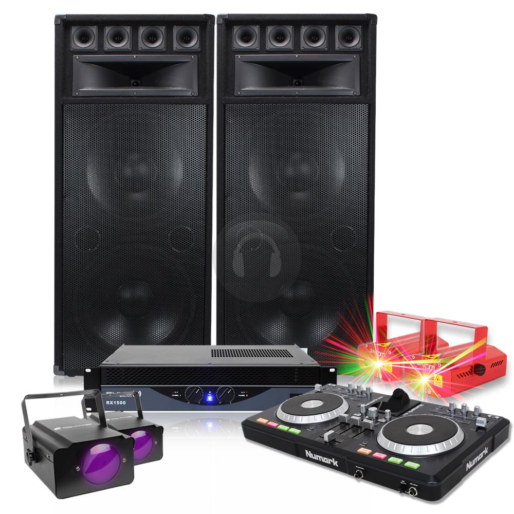 big party speakers pa amplifier pro dj mixer disco lights 1200w 2400w ebay. Black Bedroom Furniture Sets. Home Design Ideas