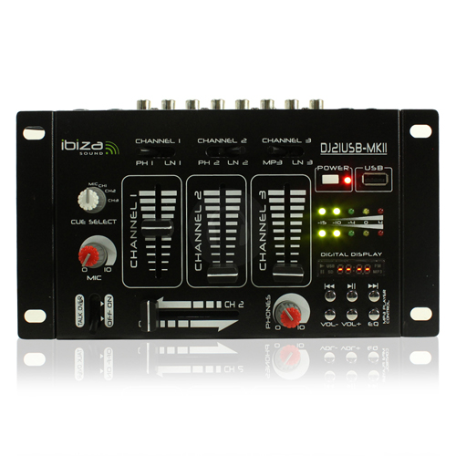 Ibiza 4-Channel Mixer with USB and MP3 Player