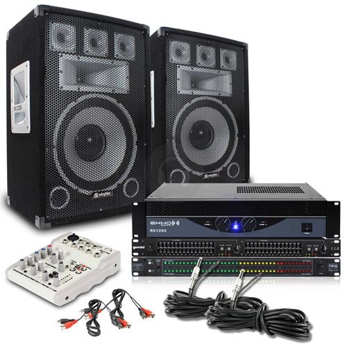 cheap 2x skytec 12 speakers amplifier mixer gemini eq2 db display 1500w ebay. Black Bedroom Furniture Sets. Home Design Ideas