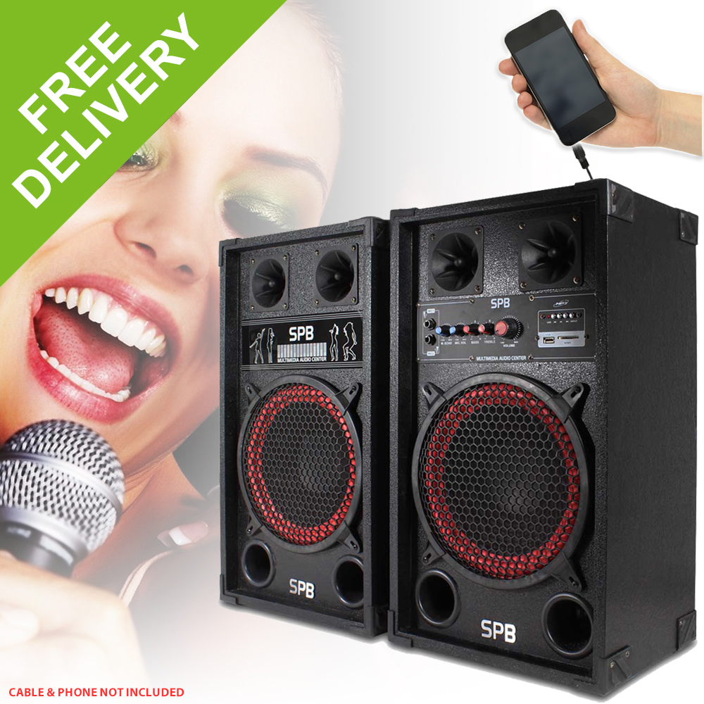 Spb 10 Quot Active Powered Red Cone Pa Speakers Disco Party Dj