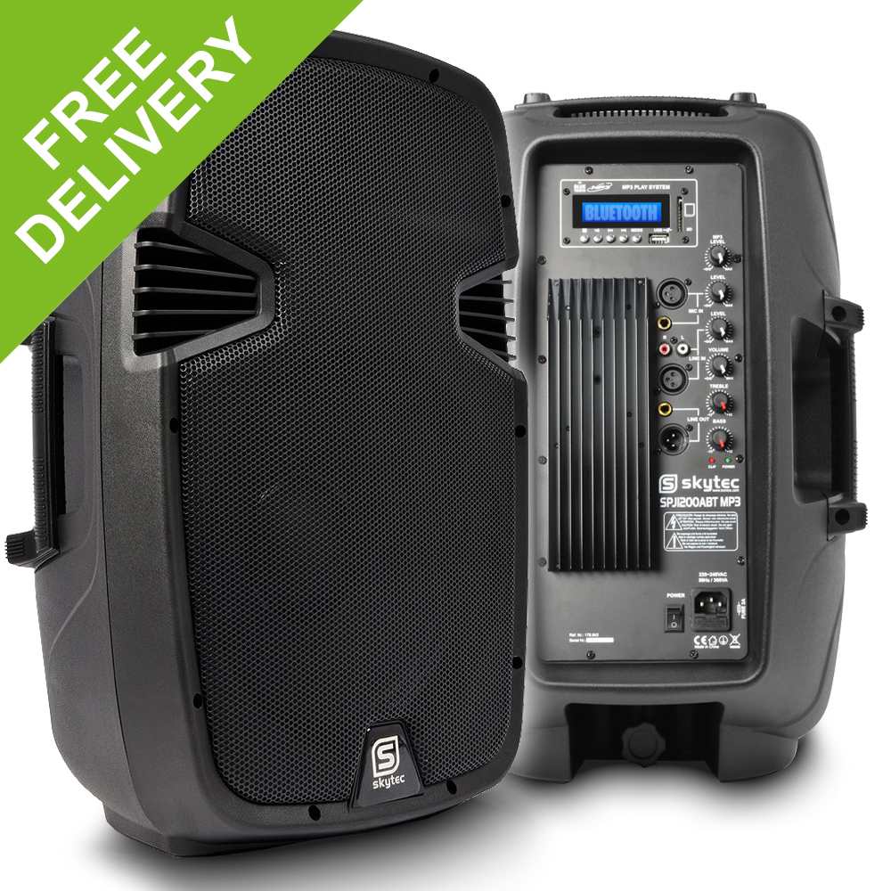SKYTEC 12amp Bluetooth Active Speaker MP3 USB SD DJ PA Disco