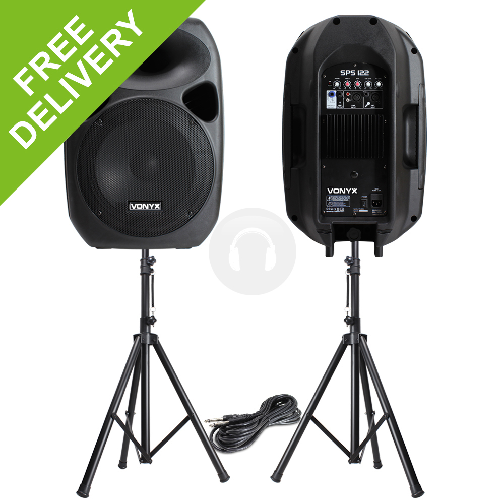 Powerful 12 active disco pa speakers mobile dj portable for Woofer speaker system