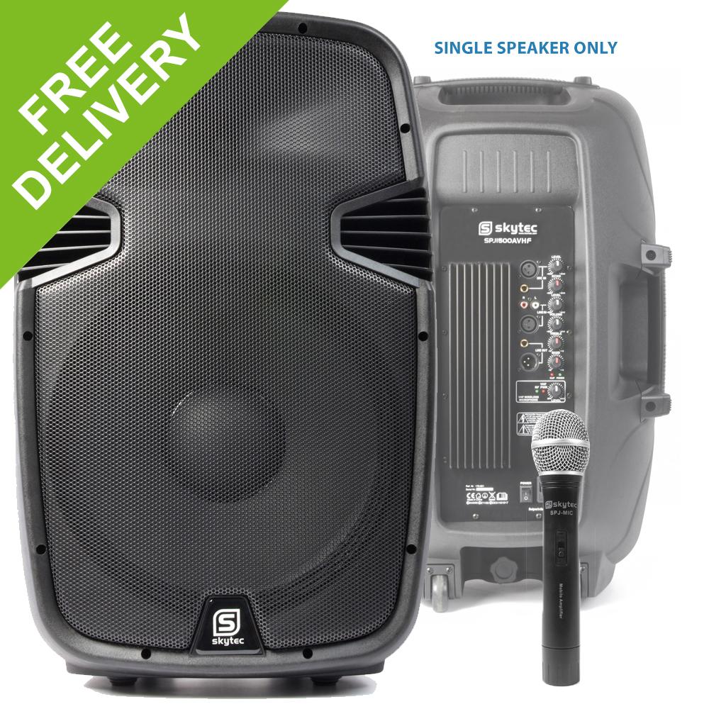 skytec 15 disco mobile dj pa speaker wireless microphone party karaoke 800w ebay. Black Bedroom Furniture Sets. Home Design Ideas