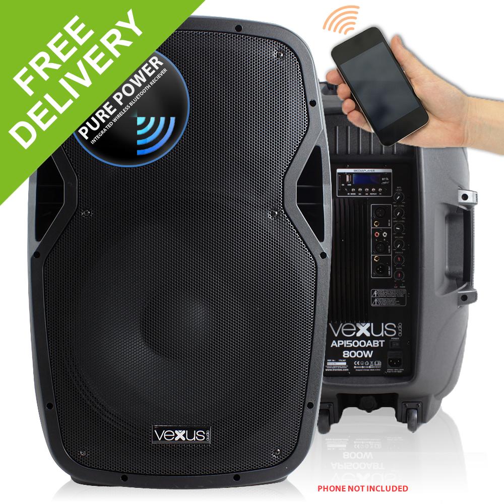 vonyx active powered dj pa speaker wireless bluetooth audio streaming 15 800w ebay. Black Bedroom Furniture Sets. Home Design Ideas
