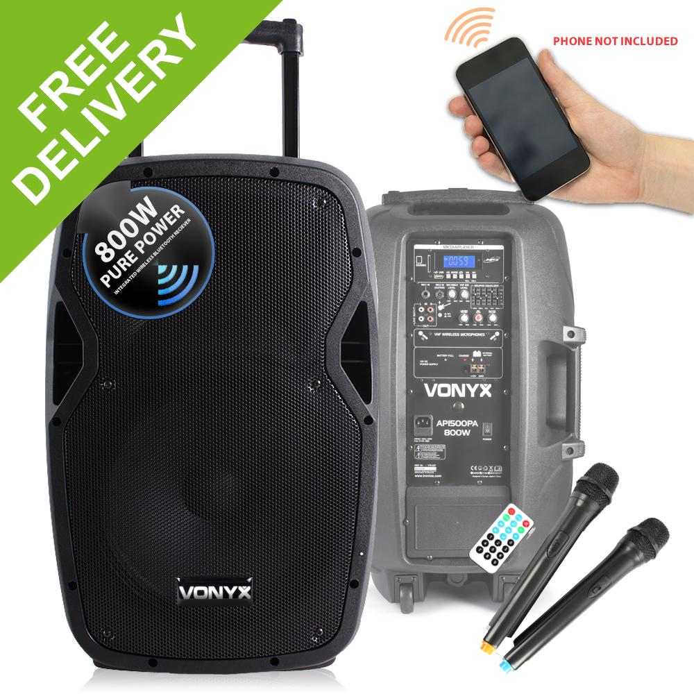 vonyx sound portable battery powered bluetooth pa system 800w wireless speaker ebay. Black Bedroom Furniture Sets. Home Design Ideas