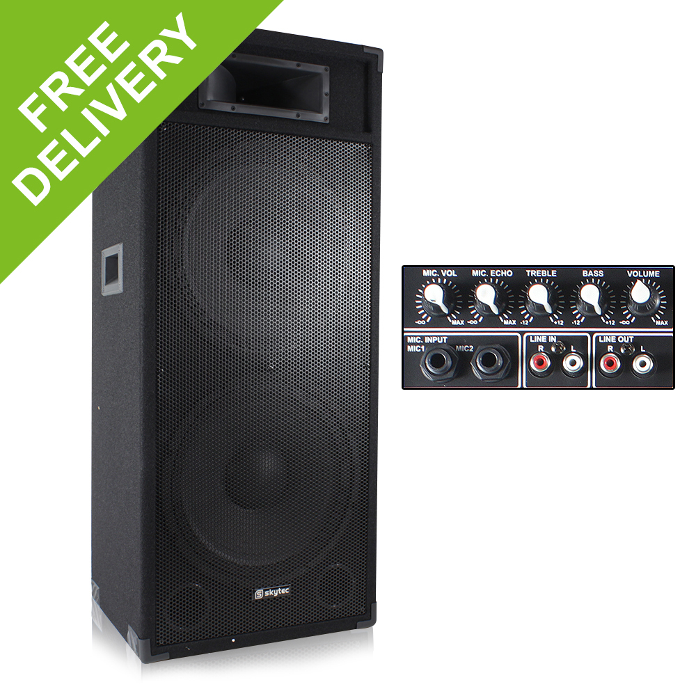 double 15 active powered pa dj speaker disco sound system. Black Bedroom Furniture Sets. Home Design Ideas