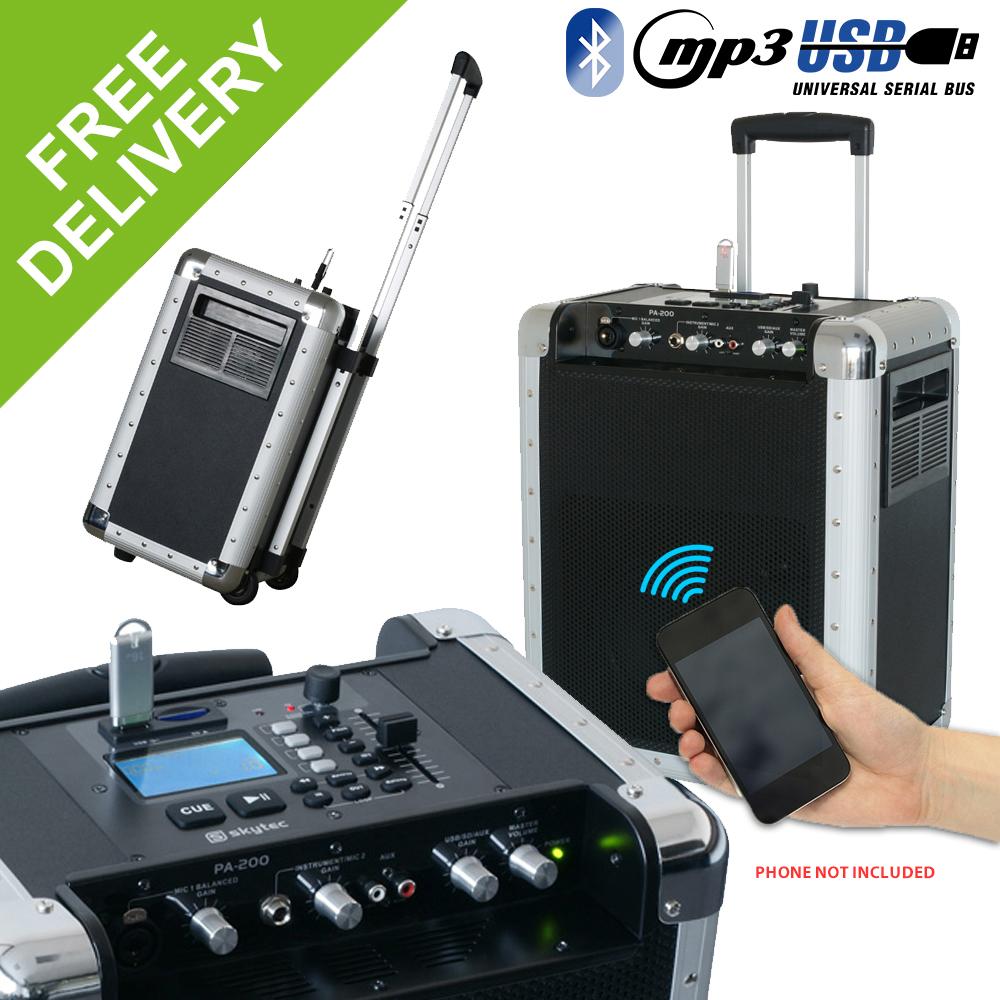 battery powered portable pa system usb mp3 bluetooth loud speaker mobile trolley ebay. Black Bedroom Furniture Sets. Home Design Ideas