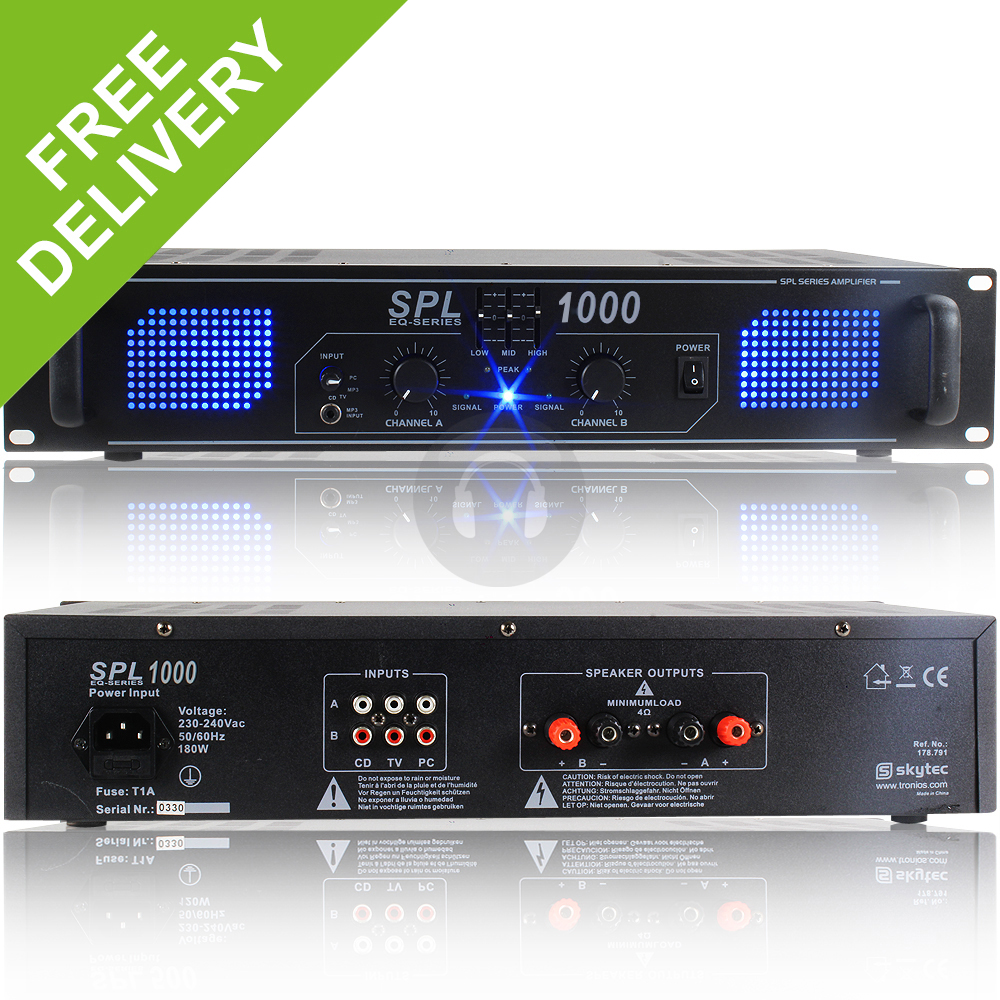 Spl 1000w Power Amplifier Eq Aux Home Audio Hi Fi Stereo Dj Disco Compatible With Tv Party Pa Amp
