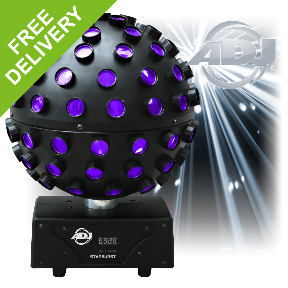 Adj Starburst 360 Rotating Mirror Ball Hex Led Uv Effect Disco Light American Dj