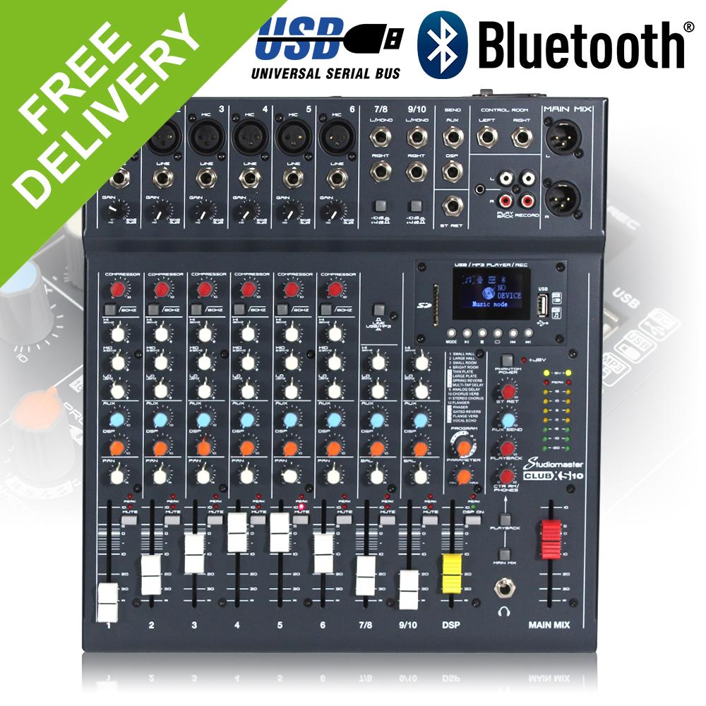 Studiomaster Club Xs 10 Channel Mixer Desk Usb Sd Recorder