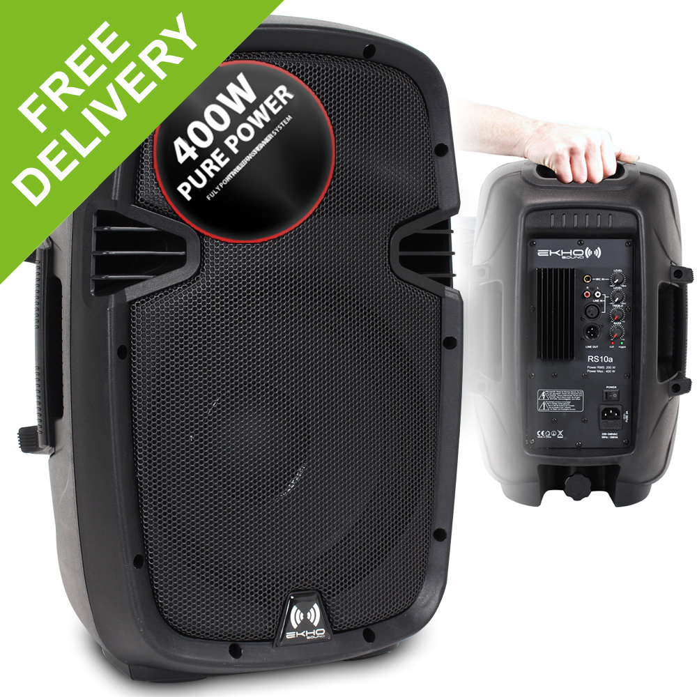 2x pa dj disco party powered small high power speakers 10 woofer portable 800w ebay. Black Bedroom Furniture Sets. Home Design Ideas