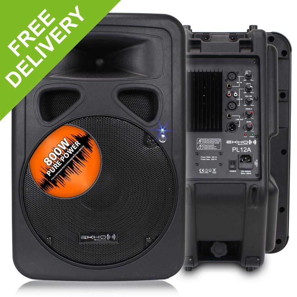 2x ekho pl12a portable dj pa party active sound system speakers cables 1200w ebay. Black Bedroom Furniture Sets. Home Design Ideas