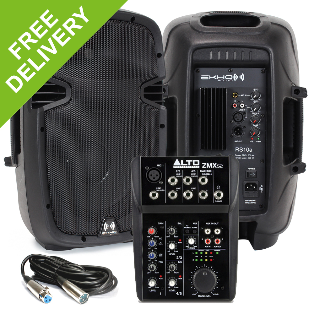 ekho rs 10 active powered small portable pa speakers with alto zmx52 mixer 800w ebay. Black Bedroom Furniture Sets. Home Design Ideas