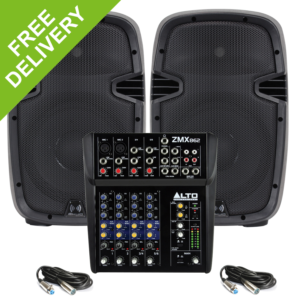 ekho rs 10 active powered small portable pa speakers alto zmx862 mixer 800w ebay. Black Bedroom Furniture Sets. Home Design Ideas