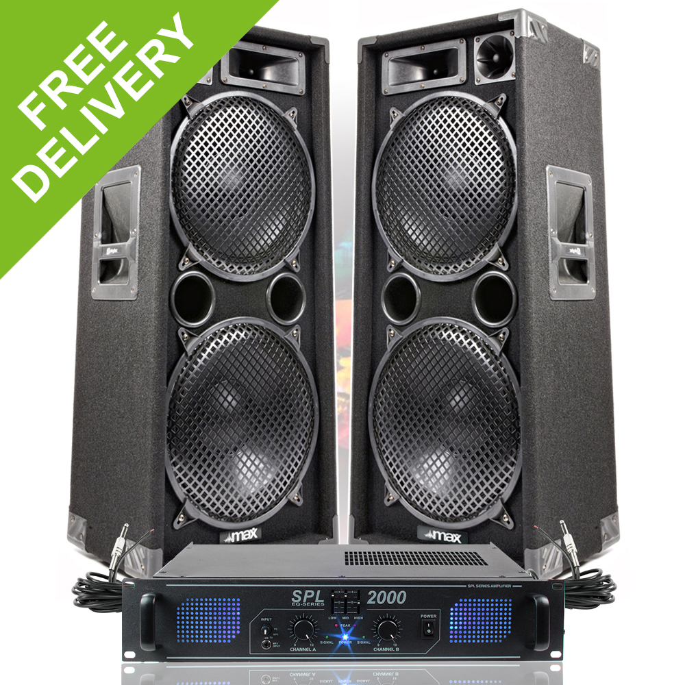 2x max dual 12 pa speakers disco party sound system dj amplifier amp 2000w ebay. Black Bedroom Furniture Sets. Home Design Ideas