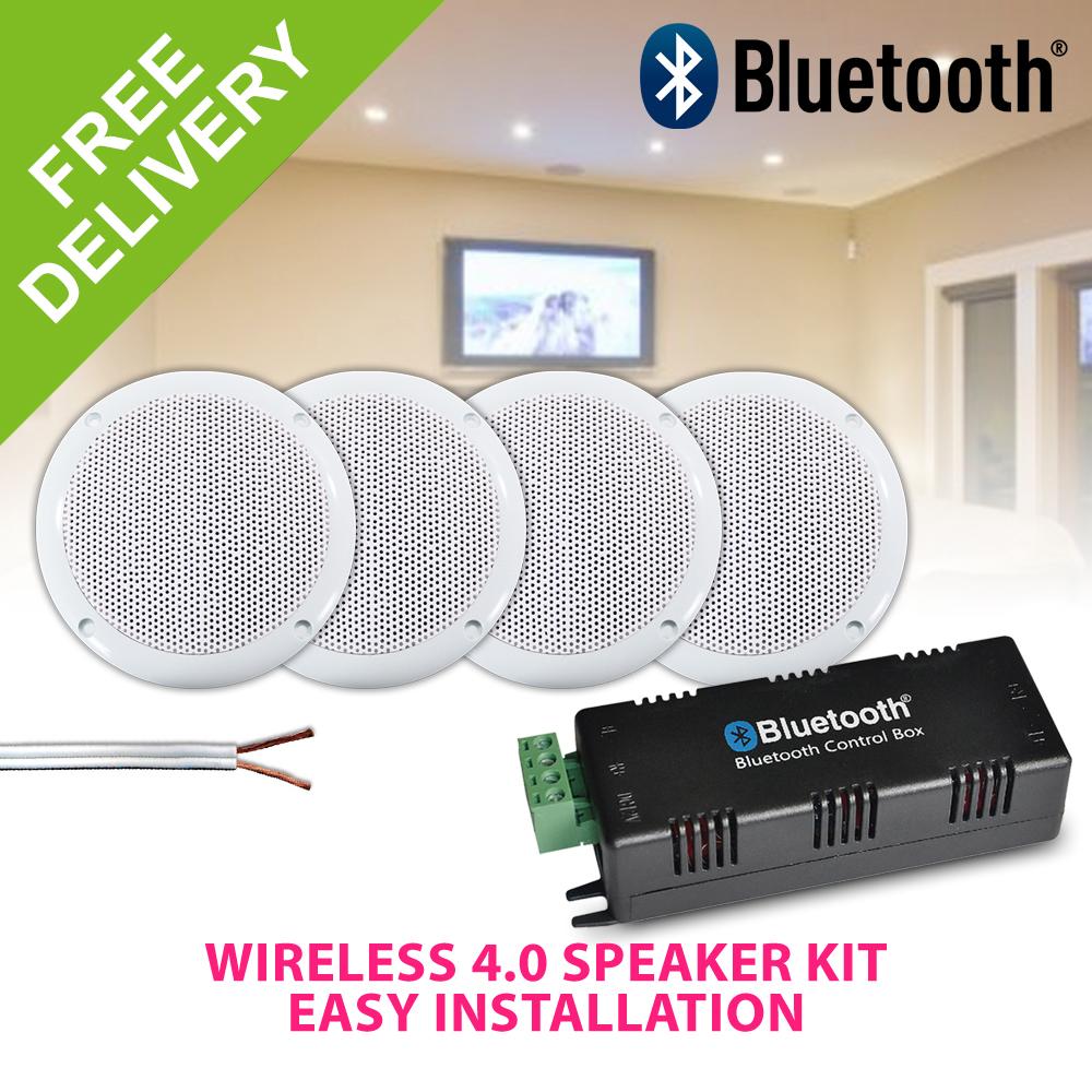 Bluetooth Ceiling Speakers Water Resistant 4 Speaker Home Stereo Kit 320 Watts