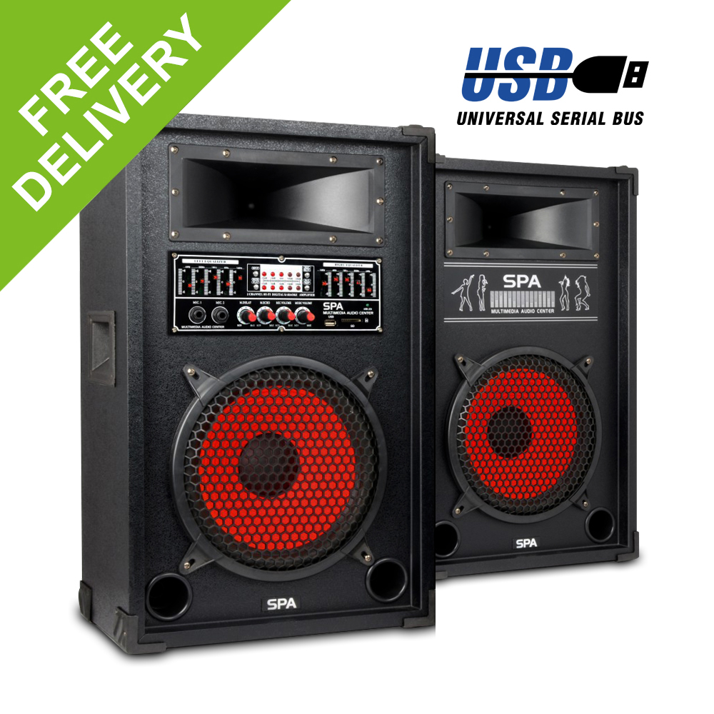 active passive pa speakers mp3 usb small party dj 800w skytec spa 10 woofer ebay. Black Bedroom Furniture Sets. Home Design Ideas