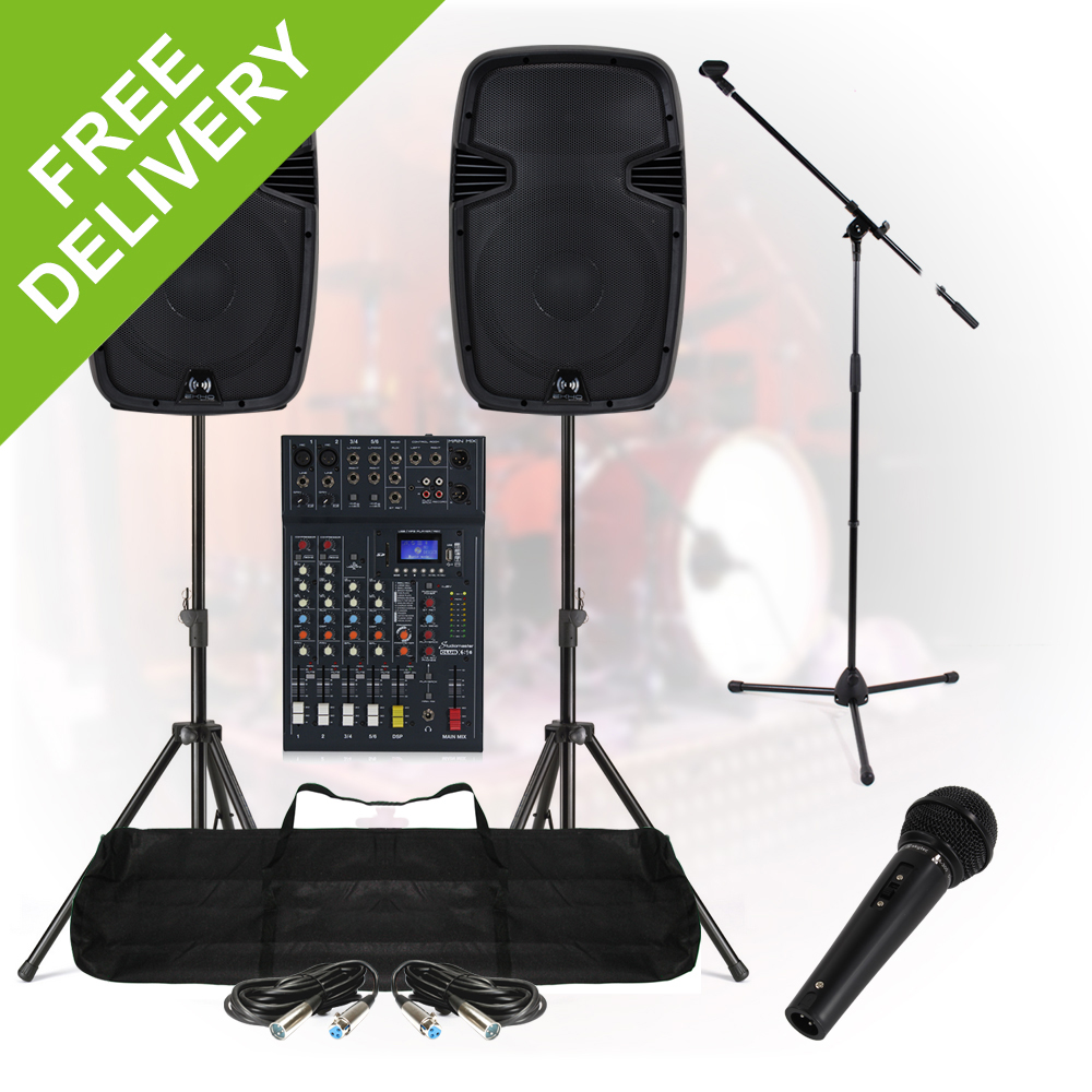 complete band live stage pa sound system 800w 6ch mixer speakers dj party ebay. Black Bedroom Furniture Sets. Home Design Ideas