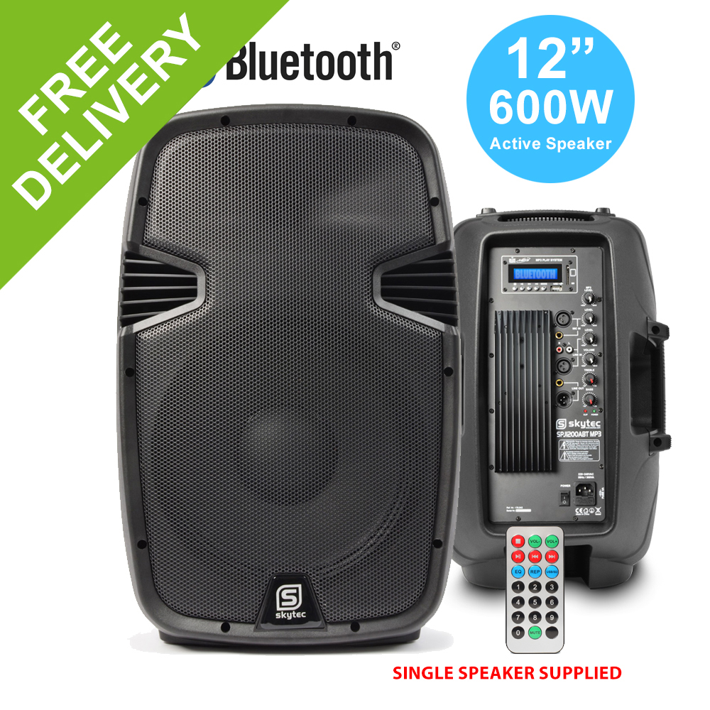"""12"""" Inch Active 2-Way 600W PA Loud Speaker Bluetooth MP3 Moulded ABS DJ Disco"""