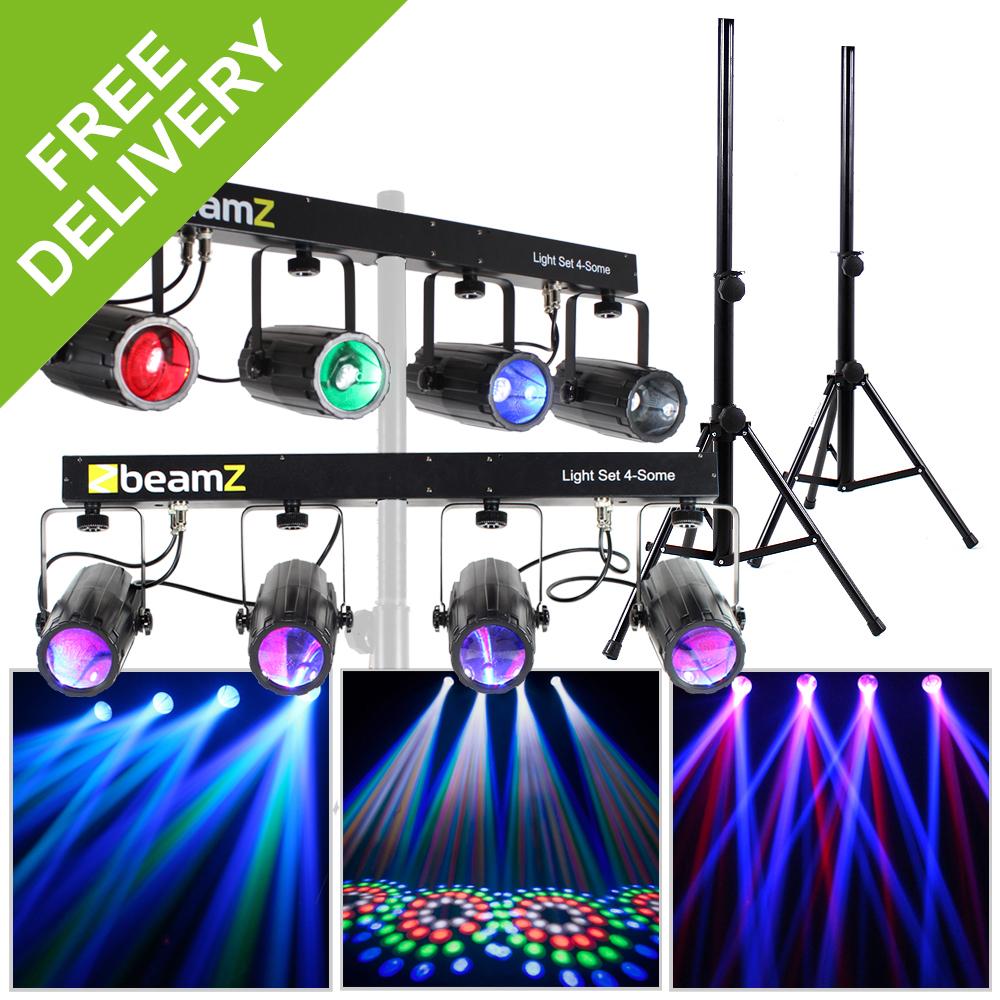 2x Beamz LED Moonflower RGBW DMX 4-Way Lights DJ Disco Party ...