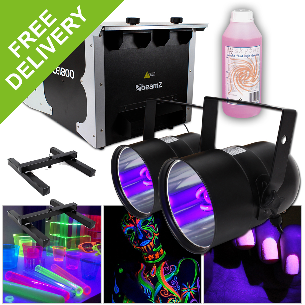 Light Stand Ground: 1800W Ground Fog Machine Disco DJ Stage UV Bulb Lighting