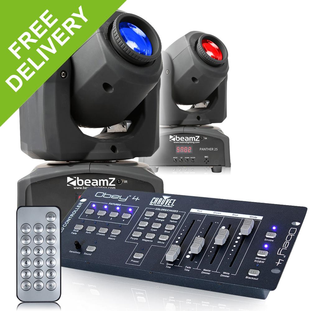 2x beamz panther25 led dj moving head lights chauvet obey 4 dmx controller ebay. Black Bedroom Furniture Sets. Home Design Ideas