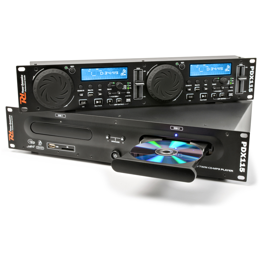 power dynamics rackmount dual cd player with mp3 usb ebay. Black Bedroom Furniture Sets. Home Design Ideas